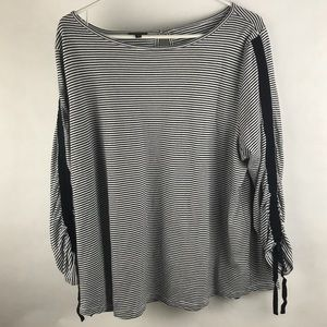 Talbots 3/4 sleeve plus size stripped blouse